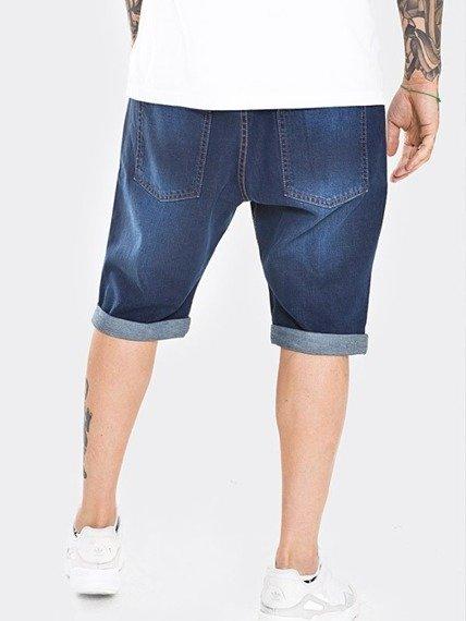 Stoprocent SJK Skull Spodnie Krótkie Jeansowe Ciemny Niebieski