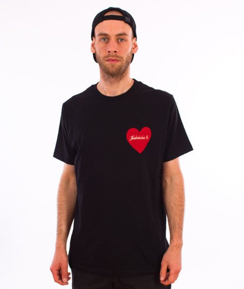 Turbokolor-Simple Thread Heart T-Shirt Black