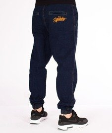El Polako-Handwritten Jogger Stretch Slim Guma Spodnie Dark