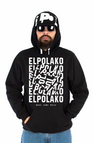 El Polako NOISE Bluza z Kapturem Czarny