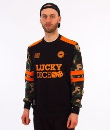 Lucky Dice-College Crewneck Bluza Czarna/Camo