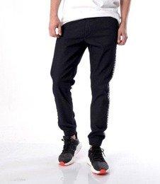 SmokeStory-Jogger Biały Lampas Slim Jeans Spodnie Dark Blue