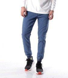 SmokeStory-Jogger Biały Lampas Slim Jeans Spodnie Light Blue