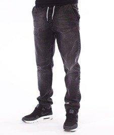 SmokeStory-Stretch Straight Fit Jeans Guma Spodnie Szary Jeans